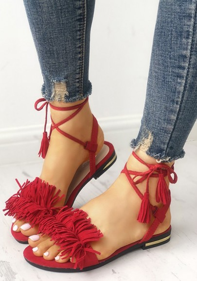 Sandalias punta redonda tobillo plano moda borla rojo