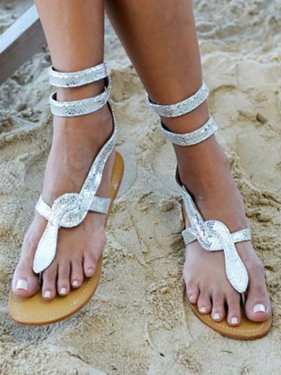 Silber Runde Zehe Schlange Snakeskin Drucken Zehentrenner Römer Hippie Flache Knöchel Sandalen Strand Schuhe Damen Mode