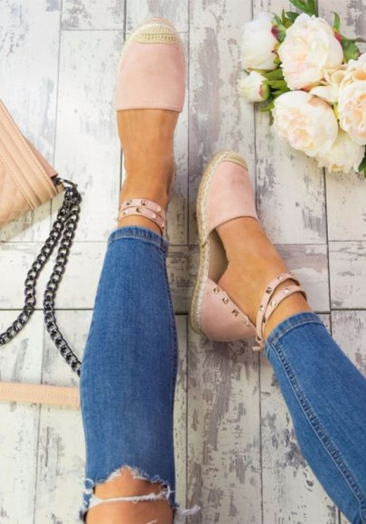 Chaussures bout rond river mode cheville rose