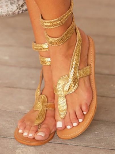 Sandales python serpent cheville bout rond plat boho femme dorée