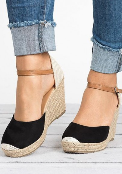 Schwarze runde Zehe keilt Schnalle Flickwerk Mode hochhackige Schuhe