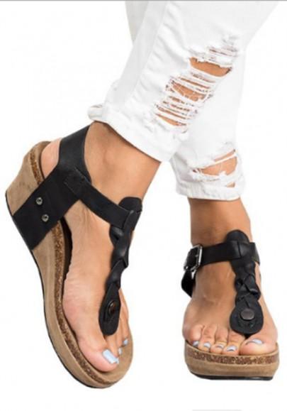 Schwarz Runde Zehe Zehentrenner Fesselriemen Keilabsatz Sandalen Damen Schuhe