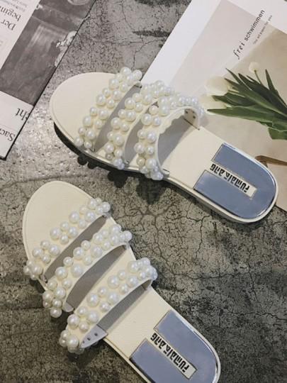 Claquette bout rond plat pearl sangle mode femme sandales blanc