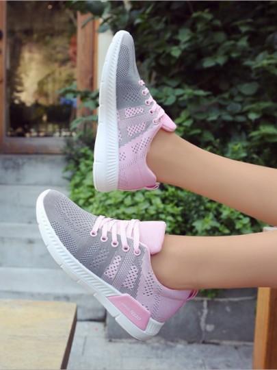 Grau Rosa Runde Zehe Schnürsenkel Beiläufige Luftkissen Mode Sport Flache Schuhe Sneaker Damen