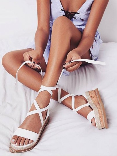 White Round Toe Wedges Cross Strap Fashion Ankle Sandals
