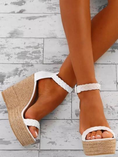 Sandales talon compensé coins plate-forme sangle boucle mode femme blanc