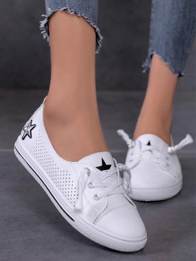 Weiß Runde Zehe Stern Schnüren Beiläufig Flache Cut Out Damen Schuhe