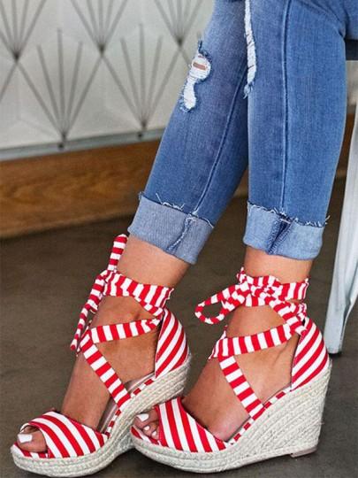 Rot Weiß Gestreift Runde Zehe Schnürung Schleife Keilabsatz Mode Hochhackige Sandalen Damen Schuhe