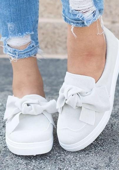 Chaussures bout rond plat avec noeud papillon mode femme blanc