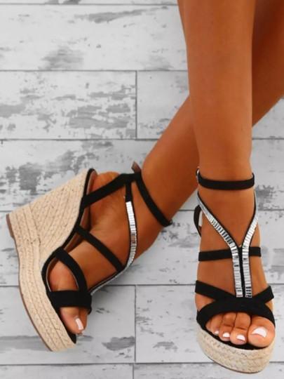 Schwarz Runde Zehe Keilabsatz Strass Fesselriemen Mode High Heels Sandalen Damen Schuhe