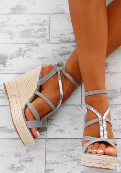 Grey Round Toe Wedges Rhinestone Fashion High-Heeled Sandals