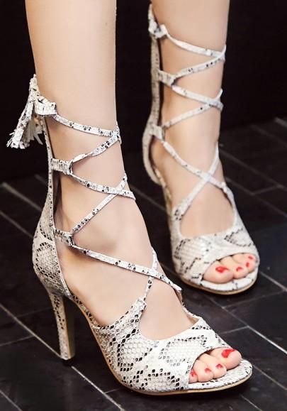 Weiß Runde Zehe Schlange Schnürung Cross Strap Stiletto High Heels Sandalen Party Schuhe Damen