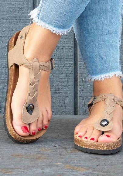Khaki Runde Zehe Knöchel Flache Fesselriemen Zehentrenner Sommer Römer Hippie Sandalen Flache Damen Schuhe