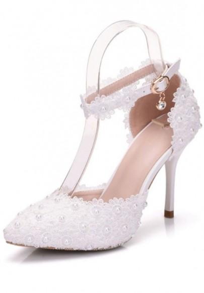 Weiß Spitze Zehe Stilett Perlen Spitze Fesselriemen Mode High Heels Brautmode Brautschuhe Damen