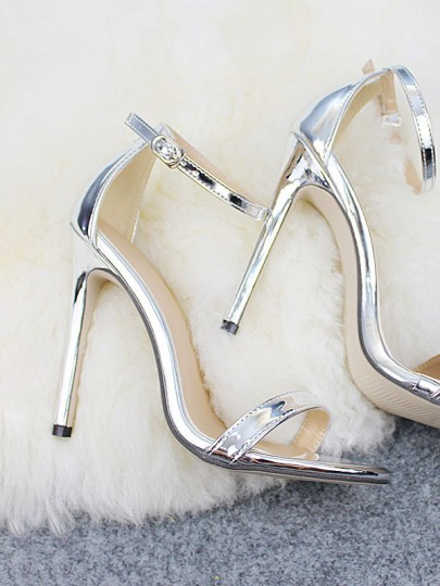 Silver Round Toe Stiletto Buckle Fashion High-Heeled Sandals
