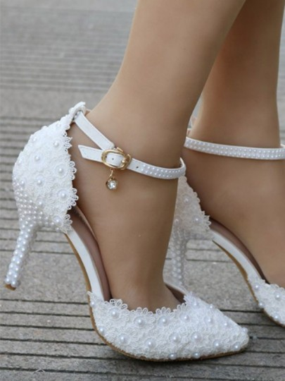 Weiß Runde Zehe Perlen Spitze Fesselriemen Stiletto Hochhackig Hochzeit Pumps Damen Mode