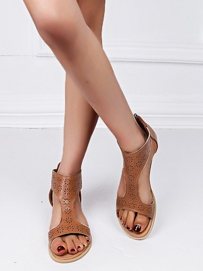 Brown Round Casual Ankle Sandals
