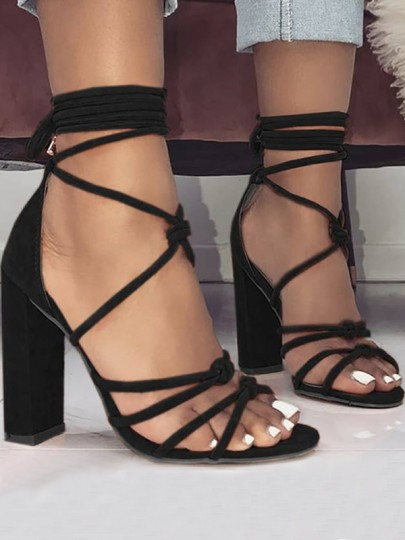 Black Round Toe Piscine Mouth Chunky Cross Strap Fashion High-Heeled Sandals Heels