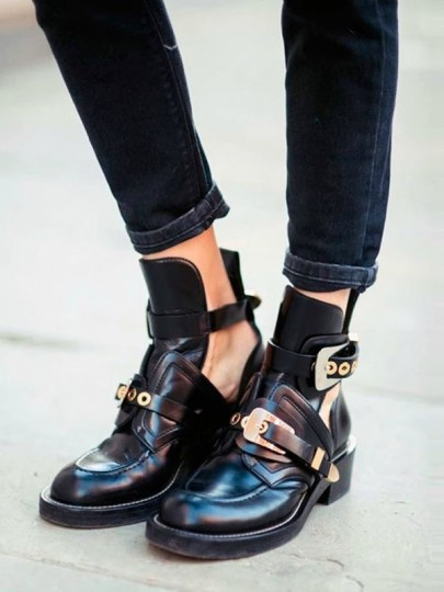 Black Round Toe Chunky Cut Out Metal Decoration Buckle Fashion Ankle Boots