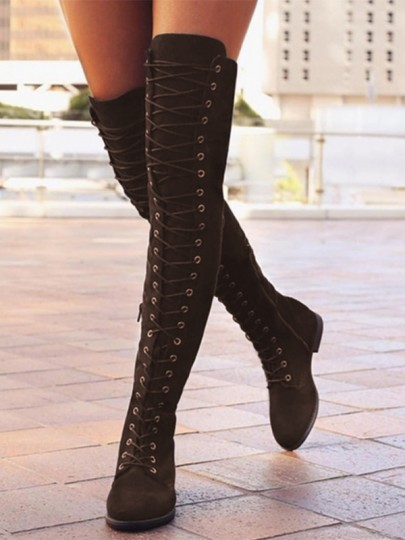 Brown Round Toe Lace-up Fashion Over-The-Knee Boots