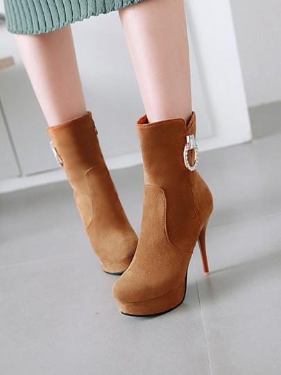 Brown Round Toe Stiletto Rhinestone Fashion Ankle Boots