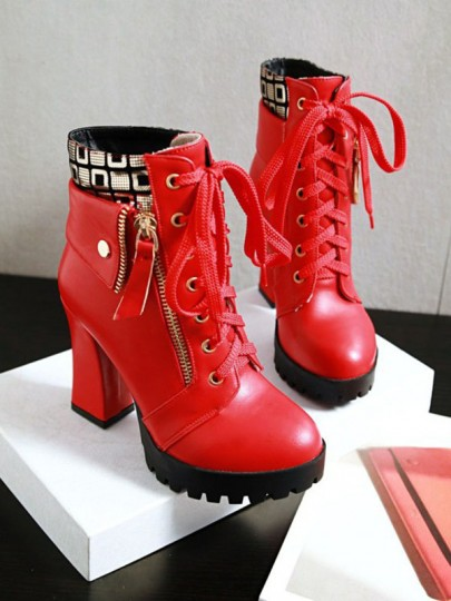 Red Round Toe Chunky Zipper Patchwork Fashion Ankle Boots