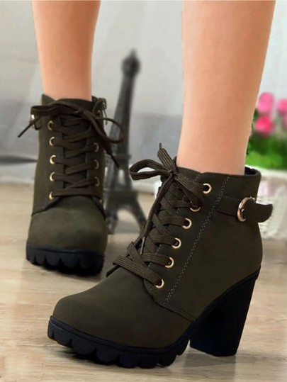 Army Green Round Toe Chunky Sequin Fashion Ankle Boots