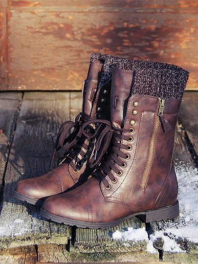 Brown Round Toe Zipper Fashion Ankle Boots