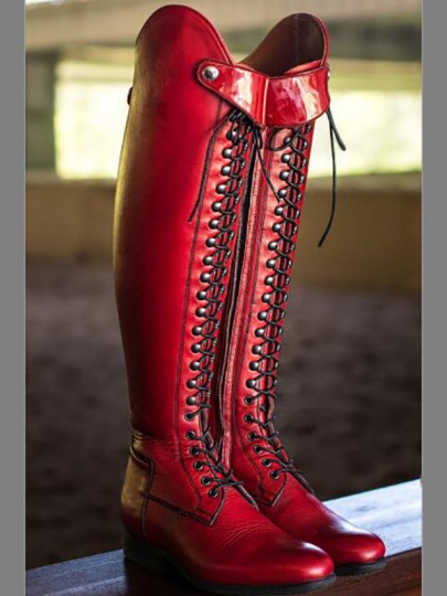 Red Round Toe Rivet Sequin Fashion Knee-High Boots