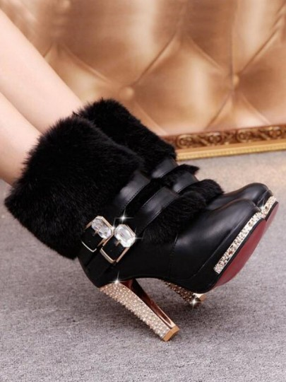 Bottes bout rond trapu strass double boucle mode cheville noir
