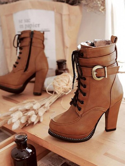 Brown Round Toe Chunky Buckle Cross Strap Fashion Ankle Boots