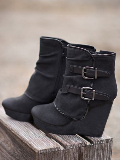 Black Round Toe Wedges Metal Decoration Buckle Fashion Ankle Boots