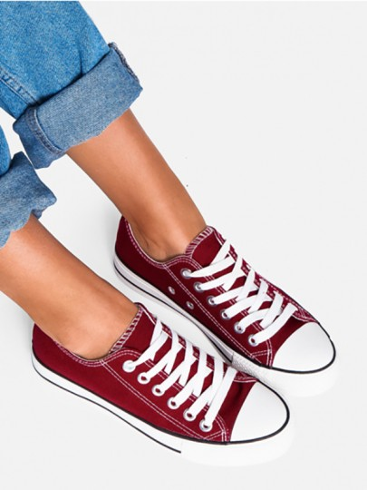 Dark Red Round Toe Fashion Ankle Shoes