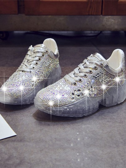 Silver Round Toe Flat Sequin Fashion Shoes