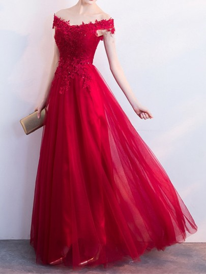 Red Patchwork Lace Grenadine Draped Off Shoulder Short Sleeve Elegant Wedding Gowns Prom Maxi Dress