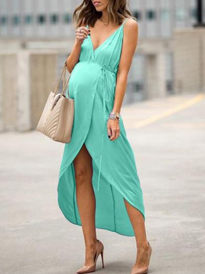 Green Irregular Slit High-Low Spaghetti Strap V-neck Sleeveless Fashion Maternity Maxi Dress