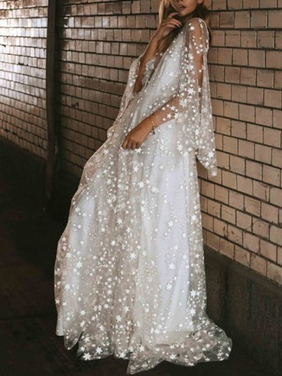 White Patchwork Sequin Draped Backless Elegant Party Maxi Dress