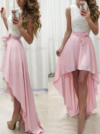 Pink-White Patchwork Lace Irregular Swallowtail High-low Banquet Wedding Party Maxi Dress