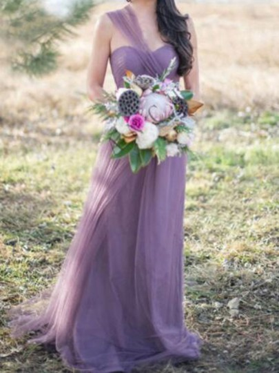 Purple Pleated Multiway Fluffy Puffy Tulle Grenadine Prom Evening Party Maxi Bridesmaid Dress