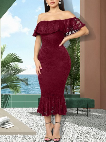 Burgundy Patchwork Lace Ruffle Off Shoulder Bodycon Mermaid Party Maxi Dress