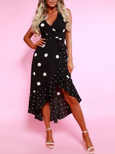 Black Polka Dot Ruffle Irregular High-Low V-neck Bohemian Beachwear Party Maxi Dress