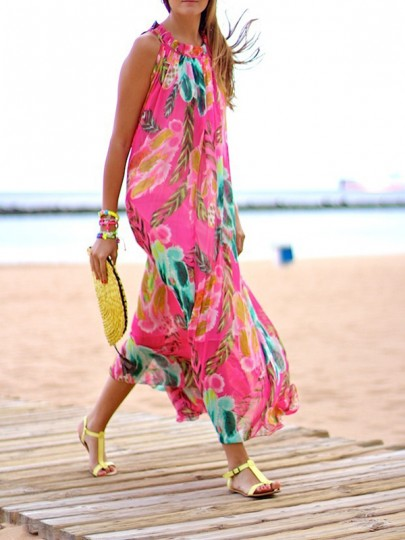 Pink Bohemian Floral Print Halter Neck Floor Length Flowy Boho Maxi Dress