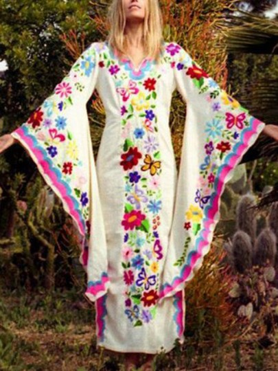 White Tribal Floral Embroidery Extreme Flare Sleeve Bohemian Vintage Maxi Dress