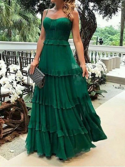 Green Ruffle Pleated Draped Flowy Spaghetti Strap Chiffon Square Neck Elegant Boho Beach Prom Maxi Dress