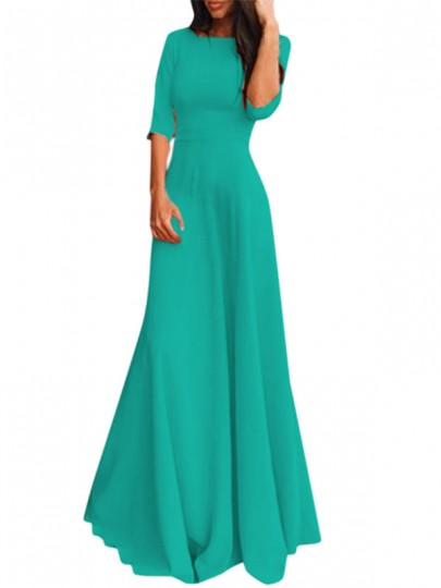 Green Draped Round Neck Three Quarter Length Sleeve Elegant Maxi Dress
