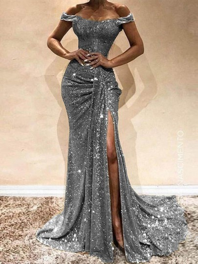 Silver Sequin Glitter Off Shoulder Side Slit Short Sleeve Draped Party Prom Maxi Dress