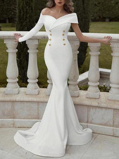 White Double Breasted Off Shoulder Mermaid Wedding Banquet Prom Party Maxi Dress