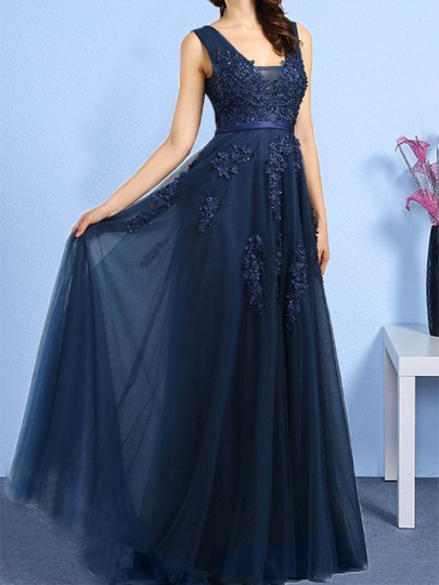 Navy Blue Beading Floral Print Draped V-neck Backless Sleeveless Elegant Wedding Maxi Dress