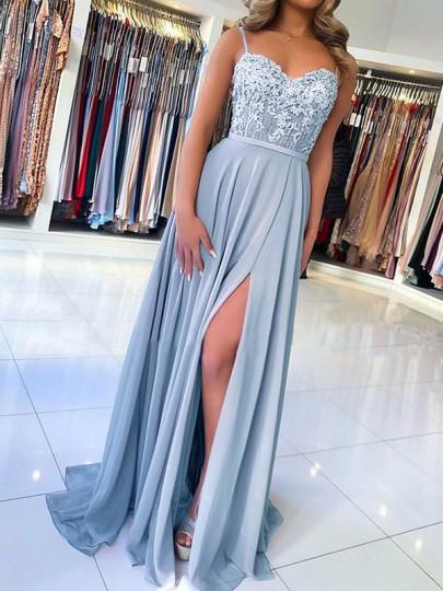 Blaue Spitze Spaghettiträger Rückenfreies V-Ausschnitt Schlitz Elegante Maxikleid Abendkleid