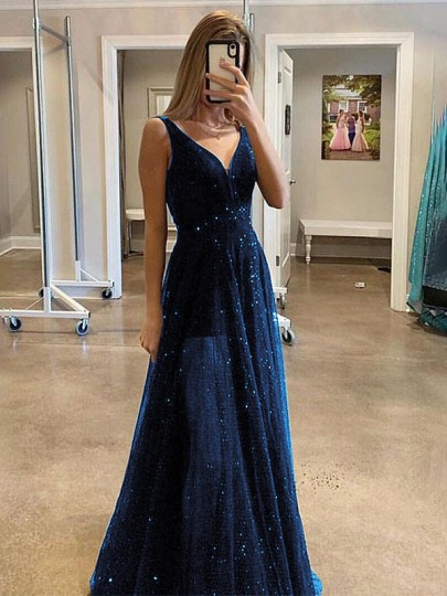 Dark Blue Sequin Glitter Sparkly Grenadine V-neck Sleeveless Elegant Prom Cocktail Party Maxi Dress